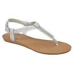 Women's Thong Sandal Barbie - Silver Glitter