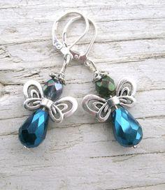 Butterfly Fairy Earrings silver butterfly by KrystalKlarityBeads