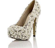 hand maid bridal pearl shoes | Handmade Super high heels pearl wedding shoes, bridal shoes, available ...