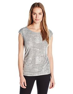 9b476102fcdae Calvin Klein Women s S l Top W  Shoulder Buttons  Sleeveless metallic  spatter foiled top with button detail on shoulder