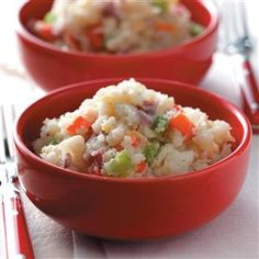 Confetti Mashed Potatoes Recipe -These mashed potatoes make a beautiful side dish for any meal. Onion, peppers and cheese add color and flavor to the potatoes. —LaDonna Reed, Ponca City, Oklahoma