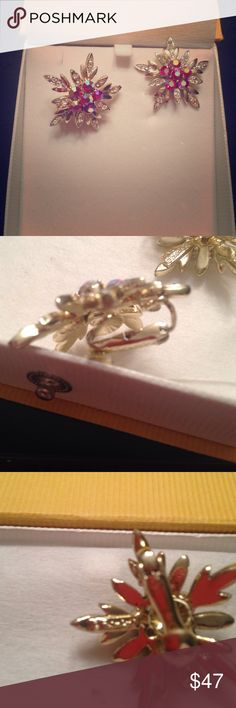 BLACK FRIDAY SALE! VINTAGE CLIPON EARRINGS SIGNED Sale ends midnight 11/26/16. Beautiful sparkly clip on earrings from vintage François. Main colors are reflective, but red, lavender and blue are outstanding. The goldtone leaves are clear stones. Great quality set! Pictures do not do it justice. Signed by FRANCOIS Francois Jewelry Earrings