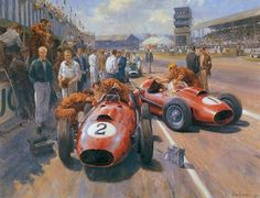Mike Hawthorn and Peter Collins, Ferrari Dino Silverstone, British GP 1958 (Alan Fearnley). Ferrari F1, Classic Race Cars, Vintage Race Car, Vintage Auto, Classic Motors, Car Drawings, Automotive Art, Car Painting, Car Wallpapers