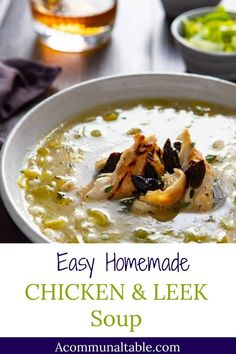 COCK A LEEKIE SOUP! This easy, healthy & homemade soup combines tender chicken, leeks and rice in a simple, comforting weeknight soup! Make ahead & freeze for when winter colds strike! #chicken #chickensoup #easysoup #souprecipes #soup