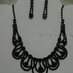 black Victorian Vintage Downton style beaded necklace with earrings in Jewelry & Watches, Fashion Jewelry, Jewelry Sets | eBay