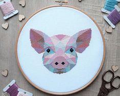 Pig Cross Stitch Pattern, Piglet Cross Stitch Chart, Geometric Cross Stitch, Pig Embroidery, Handmade Gifts, Cute Crafts, Instant Download