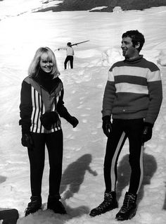 Jean-Paul Belmondo & Mylene Demongeot in Megève, France. 1966. 60s ski style.