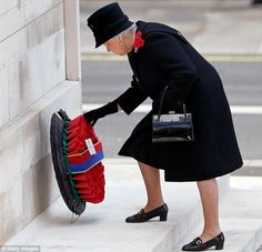 Buckingham Palace has said the Queen (pictured in 2016) will watch the 11am service in London on a Foreign Office balcony while the Prince of Wales lays a wreath to the fallen on her behalf.