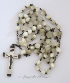 Antique French Mother of Pearl and Silver Rosary  www.fatiguedfrenchfinds.com