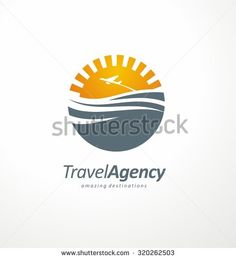 Travel to exotic destinations all around the world symbol template. Creative logo design concept with sun and ocean. Travel agency icon layout. Tourism and vacation theme.