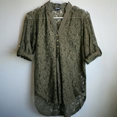 Green lace button-down blouse This sheer lace top is in a wonderful earthy green, with gold buttons and tabbed, rolled sleeves. Super cute for summer days, only worn a few times My Michelle Tops Blouses