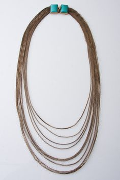 """Turquoise stones peek out under a pony! xx Rachel Leigh  21"""" Estates Chain-Mail Multi Strand Necklace in Gold"""