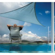 Triangle Shade Sail - Sea Blue 230 gsm 12 ft. / 3,7 m #ShadeSails #ShadingCooling #CozyDays