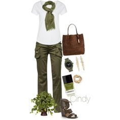 Olive Cargo Pants & Scarf