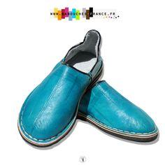 Babouche Cuir Souple Homme Bleu Jean s à Pompon de Sabra   babouche ... 2d1d297a70f