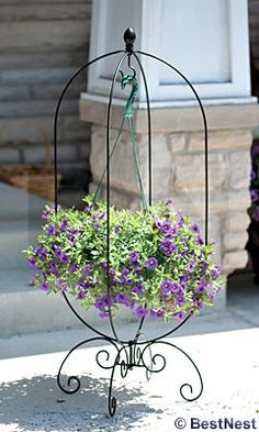 Love this Black Folding Finial Basket Hanger by Panacea Products on Front Door Planters, Hanging Planters, Flower Vases, Flower Pots, Hanging Basket Stand, Flower Stands, Iron Decor, Diy Garden Projects, Metal Flowers