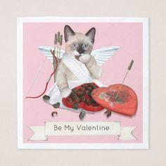 Cupid Kitten Paper Napkins - Saint Valentine's Day gift idea couple love girlfriend boyfriend design