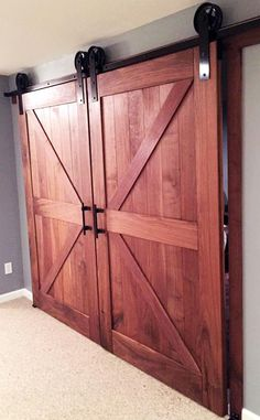 Custom Barn Doors with General Finishes Arm-R-Seal Topcoat | Created by Lake Erie Woodworks ~ http://lakeeriewoodworks.com/