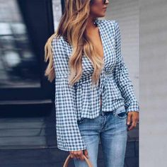 Sheinstreet New Stylish Women Deep V Neck Gingham Bell Sleeve Blouses Light Blue Bell Sleeve Blouse, Shirt Sleeves, Bell Sleeves, Blouse Dress, Bell Sleeve Top Outfit, Mode Blog, Mode Chic, Blouse Online, Blouse Styles