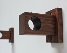 curtain rod holder, curtain rod bracket, modern wood, curtain holder