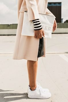 Nude coat and white #trend #fashion