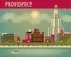 Providence, Rhode Island City Skyline Poster Print - American City Wall Art for Home, Office, and Nursery - style E8-O-PRO