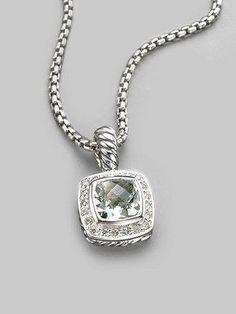 David Yurman Diamond, Prasiolite & Sterling Silver Necklace