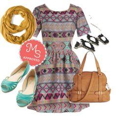 Look Completo, colores Tierra con un turquesa en los zapatos... Cute