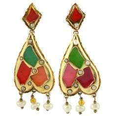 Christian Lacroix Signed Vintage Harlequin Enamel Pearl Gold Tone Earrings c.1990- (Clip-On Earrings)