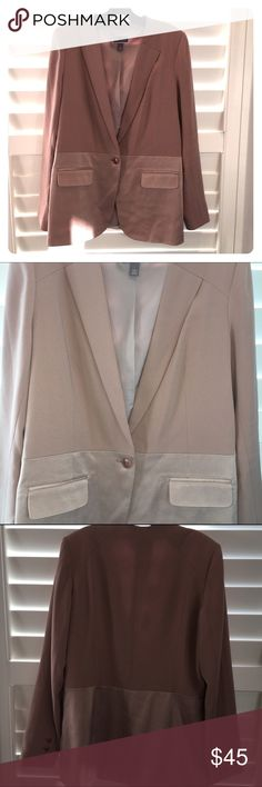 Chelsea 28 Rose Blazer, Size L This blazer is great for work and play! I love the beautiful rose color, contrast satin-like trim, clean lines and flattering fit of this jacket. This is a very soft, comfy jacket, yet it looks very crisp and chic. This item is in like new, excellent condition - it has never been worn. Additional details: Size large, single button closure, two front pockets, shell is 82% triacetate and 18% polyester; lining is 100% polyester. Fits TTS. Nordstrom Jackets & Coats…