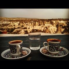 Turkish coffee with a spectecular view of Cappadocia!