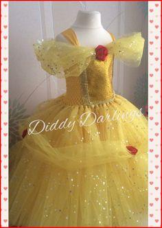 Vestido de Belle brillante. Belleza y la bestia disfraz saten. & Disney Inspired Beauty and the Beast Belle Princess Tutu Dress ...