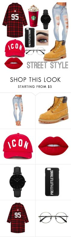 """""""street style 😚"""" by kawaiifoodielover ❤ liked on Polyvore featuring Timberland, Dsquared2, Lime Crime and CLUSE"""