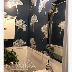 """Check out this Chinese Ginkgo Stencil from the Kim Myles """"Global Glam Collection""""! Now any DIY decorator can get that designer look for a fraction of the cost of wallpaper. Stencil collection by Kim Myles and Cutting Edge Stencils Large Wall Stencil, Stencil Wall Art, Leaf Stencil, Stencil Painting On Walls, Large Stencils, Art Mural, Tile Stencils, Wall Stencil Patterns, Damask Stencil"""