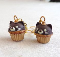 Kawaii Kitty Cat Chocolate Cupcake Earrings by LoveYourBling
