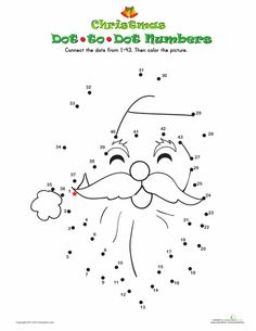 Worksheets: Santa Dot-to-Dot  done 10/12