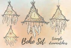 Boho Set: 4 triangle dreamcatchers by Varvara Gorbash on @creativemarket https://crmrkt.com/eR7ry