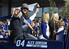 Hundreds of thousands of fans filled downtown to watch the Kansas City Royals World Series victory parade Tuesday, Nov. 3, 2015. Royals left fielder and his family rode in the parade.
