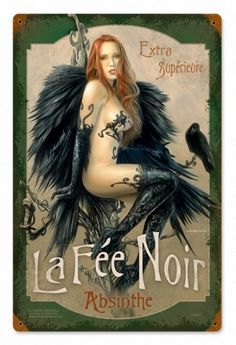Black Fairy Absinthe Vintage Metal Sign