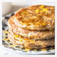 Lemon Cardamom Pancakes with a Zesty Honey Drizzle | Deliciously Ella