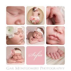 Maryland Newborn Baby Photographer Storyboard Name Collage featuring Macro Photography Shots