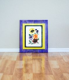 Wood Wall Art and Pansy Flower Drawing on Wood by CreativesByCourtney on Etsy