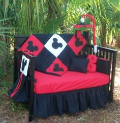 #baby #nursery #mickey #crib idk why the hell it's outside but the crib itself is cute.