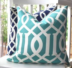 Decorative Pillow Cover -  18x18 Aqua Teal Blue Trellis Pattern Pillow Cover - Throw Pillow. $22.00, via Etsy.