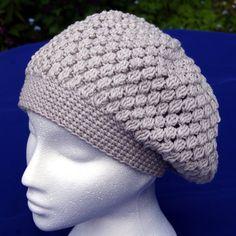 Hand crochet cotton blend slouch hat / beret in pale grey. Crochet hat. Cotton hat. Womens hat. Puff stitch slouchy hat. Gray hat gray beret