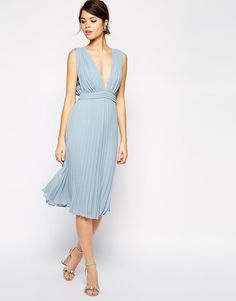 ASOS   ASOS Pleated Midi Dress With Plunge Neck at ASOS