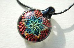 Flower Necklace Blown Glass Pendants Hand Blown by BubbleBaker, $45.00