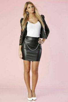 Black leather skirt chain belt white heels outfit