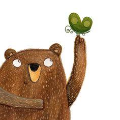 olishka | Illustrations by Aleksandra Szmidtillustration, children illustration, kids illustration, gouache, painting, art, bear, butterfly