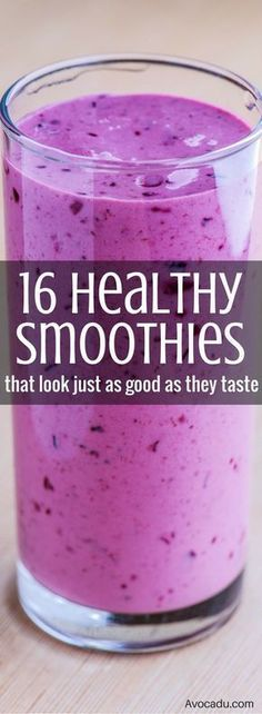 Healthy Smoothie Recipes   Smoothies for Weight Loss   Smoothies to Lose Weight   http://avocadu.com/16-healthy-smoothies-that-look-just-as-good-as-they-taste/
